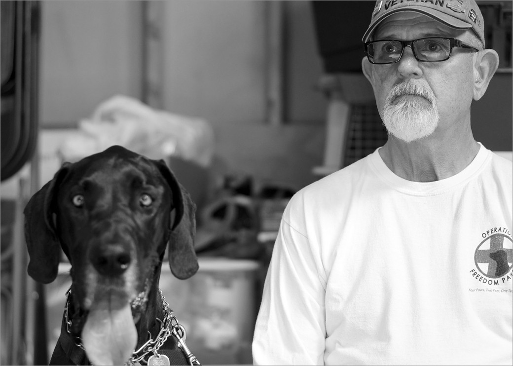 US Army Veteran Denny McLaughlin and his service dog Abbey. Like most Vietnam Vets, he lived silently with PTSD before being diagnosed and treated. Having Abbey changed his life. He could start leaving the house and walking to the store. Denny was awarded three Bronze Stars for his service in the Vietnam War.