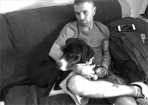 US Army veteran Mike and his service dog Maverick during a pause at Operation Freedom Paws. Together they are on a healing journey.