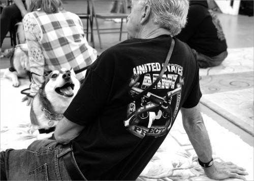 """Vietnam Veteran Marv Lewis with his service dog Kairu who never fixes her attention elsewhere. When Marv is feeling uncomfortable in a crowd, Kairu will """"block"""" (create a barrier) to keep him out of range of people. She also helps with mobility issues due to multiple surgeries from injuries sustained during his military service."""